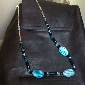 "Jewelry - Handmade necklace Black and Blue 26"" long"